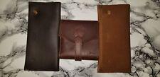 *SOLD OUT* Saddleback Leather Trifold Wrap Wallet Chestnut Script Logo Blue Dog