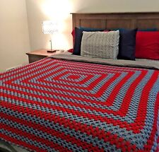 Blue Red Hand Crochet Crocheted Cotton Q Blanket Coverlet Bedspread 85 x 85 #372