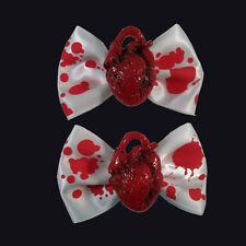 Kreepsville 666 Red Heart Hair Bow. Horror, Gore. Fancy Dress. Zombie. Halloween