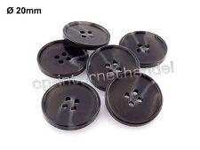 6 Modische Knöpfe - schwarz/grau meliert - Ø 20 mm  [1.1-20]