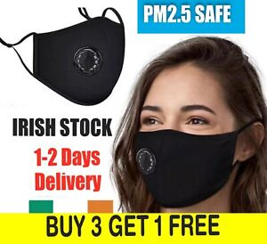 REUSABLE WASHABLE FACE MASK WITH FILTER VALVE VENT FOR EASY BREATHING