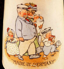 ANTIQUE German BEER MUG WORLD WAR I FAMILY PAPA WITH MEERSCHAUM PIPE GERMANY