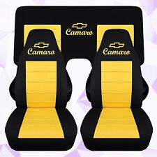 Front and Rear Chevy Camaro Coupe Black and Yellow Seat Covers 2010-2015 ABF