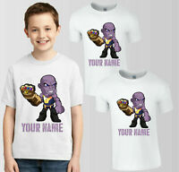 Personalised Thanos Marvel T-Shirt, Your Name Boys Girls Birthday Kids Top