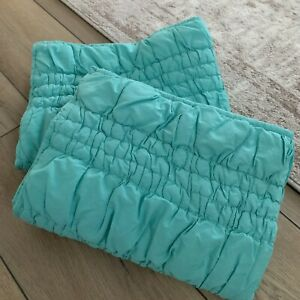 Lot of 2 Pottery Barn Teen Aqua Teal Turquoise Ruched Standard Shams
