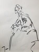 JOSE TRUJILLO Original Charcoal on Paper Sketch Drawing 18X24 Model Portrait ART