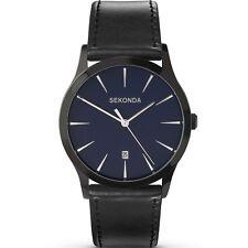 Sekonda Men's Quartz Watch With Blue Dial Analogue Display Black PU Strap Sk3536