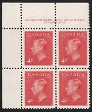 ROYALTY = KING GEORGE VI = Canada 1949 #287 MNH UL Plate Block #8