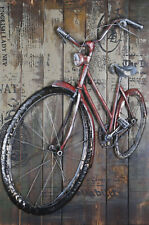 Popular Red Bicycle art decoration 3D modern wall art painting quality custom NR