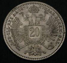 AUSTRIA 20 Kreuzer 1870 - Silver - Franz Joseph I. - aUNC - 173