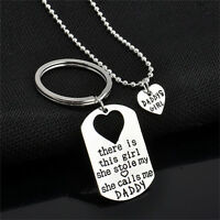 Letter Heart Keychain Necklace Pendant Daddy Daughter Father Girls Jewelry BDAyu