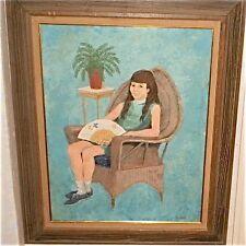 Girl in Wicker Chair Holding Fan-Jan Gary(NJ)-LISTED
