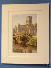 L'abbaye de Fountains North Yorkshire vintage double monté haslehust imprimer c1920 ancienne