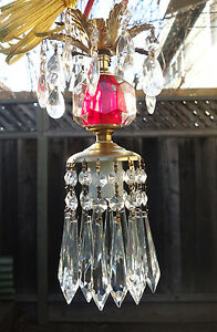 Vintage cranberry ruby red clear glass Brass hanging lamp chandelier crystal