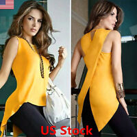 Women Summer Loose Top Cross Irregular Blouse Ladies Casual Tops T-Shirt Tee USA