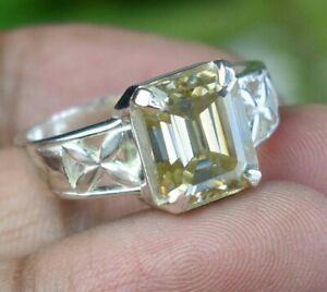 4.75 Ct Champagne Solitaire Ring In Emerald Cut Great Shine & Bling WATCH VIDEO
