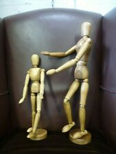 Vintage hand waxed Traditional Wooden Large Artist Mannequin model pose-able 16""