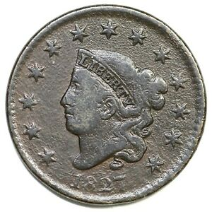 1827 N-10 R-4+ Matron or Coronet Head Large Cent Coin 1c