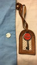 FOSSIL Silver  Pink Key Logo Replacement Purse Brown Leather Hangtag