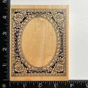 PSX Designs Victorian Rose Oval Border Frame K484 Wood Mounted Rubber Stamp