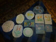 Vintage Homemade Mother Mom Flowers Embroidery Remnant Patch Lot Of 11 Unique