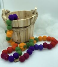 Autumn Abundance Fall garland wool ball Pumpkins Handmade Jewel Tones