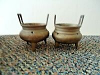 """Vintage Set Of (2) 3 Legged Brass Incense Pots """" GREAT COLLECTIBLE SET """""""