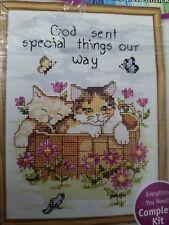 "Janlynn Cat Kitty Kitten Counted Cross Stitch Kit Needlecraft 5x7"" 999-1099 EUC"