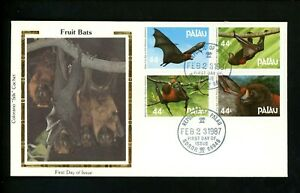 Postal History US Palau FDC #122-125 Fruit Bats 1987 Colorano Silk Cachet