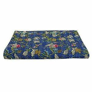 King Size Blue Kantha Quilt Indian Reversible Bedspread Bedding Throw Blanket