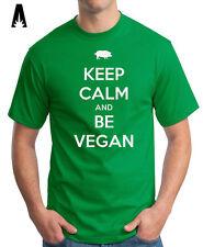 R 0234 KEEP CALM be VEGAN T-shirt Tee Camiseta Healthful Healthy Food Veganism