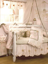 9 Piece Crib Bedding Baby Girl Floral Rose Angel Toile Pink Cream Tan