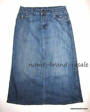 BACCINI Denim Long Jean Skirt WOMENS 12 Flare Hem MODEST Boho Indie Hippie