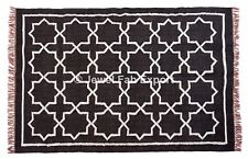 Indian Jute Rug Kilim Rug Living Room Area Handmade Silver Zari Carpet