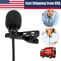 Mini Lavalier Mic Microphone For Cell Phone PC Recording 3.5mm Clip-on Lapel RR