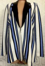 Misook Woman Jacket Black , Blue & White With Brown Collar Stripe Size Large