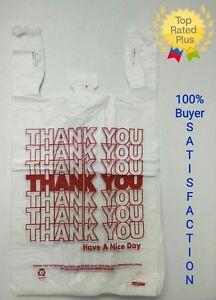"THANK YOU T-Shirt Bags 11.5"" x 6"" x 21.5"" White Plastic Shopping bag 50 - 1000"