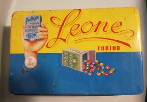 antica scatola latta pastiglie Leone