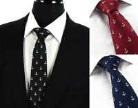 Mens White Anchor Boating Ties & Red Black Navy Blue Sailor Gift Silk