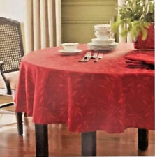 "Round Tablecloth Burgundy Wine 70"" Christmas Floral Jacquard Classic Tidings New"