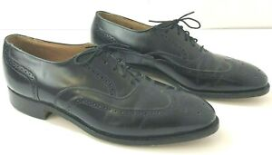 JOHNSTON & MURPHY Optima Mens 9 C/A Dress Shoes Oxfords Wingtip Black Leather