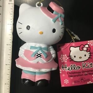 HELLO KITTY Christmas Ornament Kurt Adler PINK CAP Blue Bowtie New with Tags NM