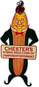"""Porcelain Chester's Hybrid Seed Enamel Sign Size 24"""" x 11"""" Inches"""