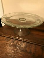 Vintage Cake Stand Pedestal Clear Glass Depression Glass Some Frosted Design