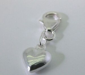 925 Solid Sterling Silver Puffed Heart Charm Clip On Lobster Clasp to Bracelet