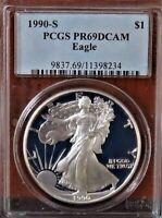 1990-S American Silver Eagle PCGS PR69DCAM