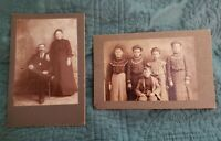 Two *CABINET CARDS* Family. 2 Mom and Dad. Siblings. Pleasant Valley, MO.