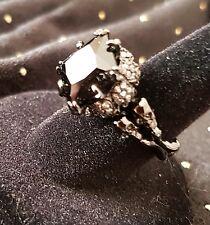 Black Gold Filled Skull Goth Ring Size J 1/2