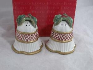 Fitz and Floyd Christmas Salt & Pepper Shakers Porcelain Holiday Bells Holly
