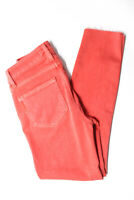 Paige Womens Verdugo Crop Mid Rise Raw Hem Skinny Jeans Tulip Pink Size 24